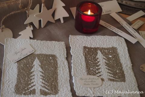 Käsintehtyjä joulukortteja