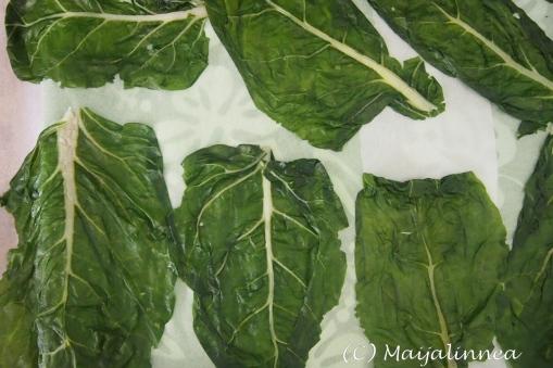 pakastettuja mangoldin lehtiä