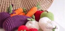 Leikkiruokaa, virkattuja vihanneksiä